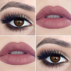 Brown and gold eyes with matte mauve lips.