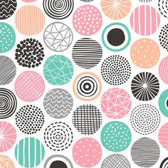 Colorful fabrics digitally printed by Spoonflower - Dots Geometrical Patterned Black&White Gold Yellow Doodle Patterns, Zentangle Patterns, Pattern Drawing, Pattern Art, Pattern Ideas, Circle Pattern, Surface Pattern Design, Doodle Art, Planer