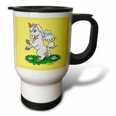 3dRose Unicorn Art On Yellow, Travel Mug, 14oz, Stainless Steel