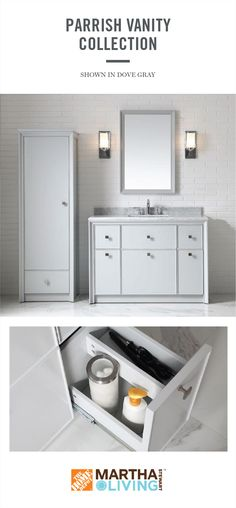 Defined by clean lines, deep framing bevels, and chic geometric knobs, the Parrish bath vanity collection from Martha Stewart Living infuses your bathroom with a sense of restrained, modern glamour. Inside, the fully customizable storage features will adapt beautifully to your organizational needs. Learn more about Martha Stewart Living bath vanities, available exclusively at HomeDepot.com.