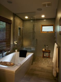 Modern and calming bathroom interior.