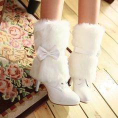 Winter Wedding Boots Off White With Fur Trim And A Pearl On Beautiful Http Www Bargainwedding Shoes Pinterest