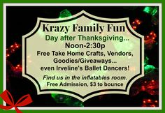 Family fun...discounted inflatables/$3, spin art and other crafts activities, giveaways and goodies from the dozen or so vendors. Come join Lazer Kraze all day starting at noon and we'll be on site from Noon-2:30pm the day after Thanksgiving, 2013. email me for additional information--breea@Macaronikid.com,http://nwcolumbus.macaronikid.com/calendar/event/c125264/