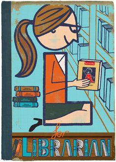 L for librarian (ilustración de Paul Thurlby)