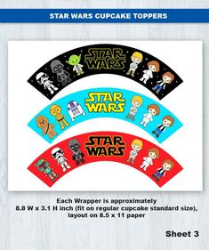 Star Wars Cupcake Topper & Wrapper Digital File INSTANT DOWNLOAD ----------------------- ★★ Package Included ★★----------------------------------- You will received * 20 Cupcake Toppers in total * 3 Cupcake Wrappers in total * 1 PDF File, which contain 3 sheets with every items neatly