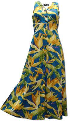5b1afd97fd Watercolor Bird of paradise Hawaiian Paradise Found Long Dress  ten large  functional Bamboo Buttons at