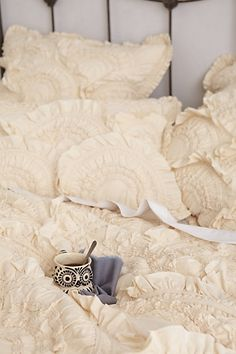 Neutral Rivulets {Queen} Quilt {and that little owl cup}! #Anthropologie #PinToWin What a Dream this would be~* #dreamscometrue :)
