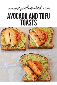 Delicious breakfast tofu made with whole grain bread, avocado spread, tomato and baked tofu. #recipe #veganbreakfast #breakfast #avocado
