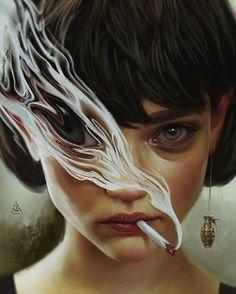 Illustration Art By Aykut Aydoğdu Aykut Aydoğdu, Turkey is an artist born in 1986 in Ankara. Aydoğdu, who has worked on art in both his high school years Digital Art Girl, Digital Portrait, Portrait Art, Psychedelic Art, Art Sketches, Art Drawings, Drawing Faces, Surealism Art, Images Murales