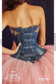 Floral Denim Quinceanera Dress by Ragazza Fashion Denim Fashion, Look Fashion, Fashion Outfits, Fashion Design, Floral Denim, Denim And Lace, Denim Wedding Dresses, 15 Dresses, Evening Dresses
