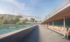 1st prize for Kast Kaeppeli Architekten and the competition for the renovation of the artificial ice rink and wave pool Dählhölzli in Berne / Switzerland. We were allowed to support the architects with our visualizations. Wave Pool, 3d Architectural Visualization, Ice Rink, Zurich, New Image, Competition, Waves, New York, Studio