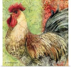 """GreatBigCanvas """"Bohemian Rooster on Light Green"""" by Susan Winget Canvas Wall Art, Multi-Color Abstract Canvas, Abstract Print, Canvas Wall Art, Wall Art Prints, Poster Prints, Canvas Prints, Rooster Art, Green Wall Art, Green Home Decor"""
