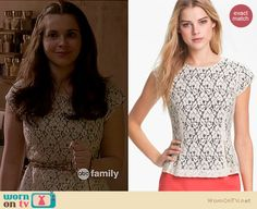 Bay's lace peplum top and denim floral shorts on Switched at Birth.  Outfit details: http://wornontv.net/16531/