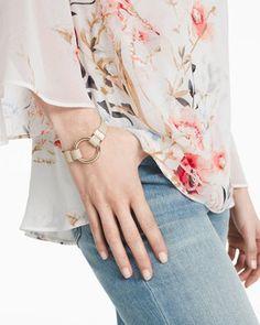 Leather Goldtone Circle Toggle Bracelet