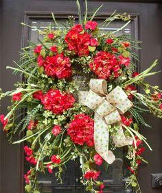 Spring Summer Wreath Floral Door Decor Burlap Wild Red Hydrangea Grassy XL Luxe