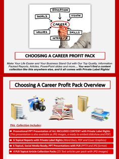 Choosing A Career PLR Profit Pack Quality, value packed and affordable private label career choice content portfolios, jam-packed with premium PLR reports, essays, articles and graphics. All of it comes with our exclusive, profit-ready, viral PowerPoint presentations. We've done all the hard work for you!  #Business #OnlineBusiness #Career #JobSearch #JobHunt #Employment #BusinessSuccess #BusinessBrand