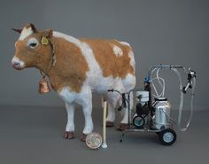 Cow and milkingmachine made by Ilona