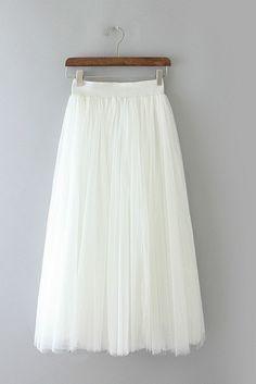 White Tulle Midi Skirt #genuine-people