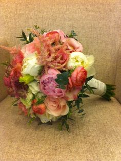 Orangy Pink bridal bouquet Peony, Ranunculus, Astilbe, Eucaryptus, Lisianthus