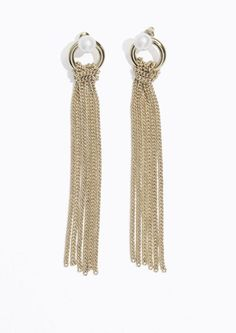 & Other Stories Chain Tassel Earrings in Gold