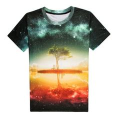Trendy Round Neck 3D Starry Sky Pattern Short Sleeve Men's T-Shirt