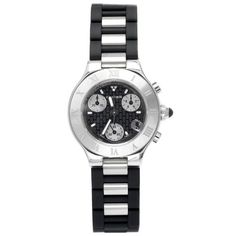 Cartier Women's W10198U2 Must 21 Chronoscaph Stainless Steel and Black Rubber Chronograph Watch. Buy beautiful watches for her