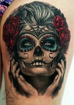 ~Sugar Skull Girl~ Love the touch of colour (minus the hands)
