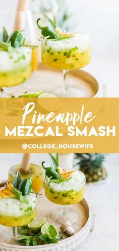 Charred Pineapple and Jalapeno Mezcal Smash! Basically my cocktail love language. This cocktail is filled with fresh smashed pineapple chunks, jalapeno slices, tart lime juice, agave nectar and smoky mezcal. Cocktail Recipes For A Crowd, Dinner Party Recipes, Food For A Crowd, Refreshing Summer Cocktails, Spring Cocktails, Classic Cocktails, Best Cake Recipes, Enchilada Recipes, Agave Nectar