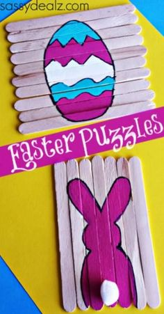 Popsicle stick Easter puzzles