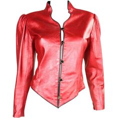 Pre-owned 1980's Ungaro Metallic Red Leather Jacket ($695) ❤ liked on Polyvore featuring outerwear, jackets, red jacket, long sleeve jacket, genuine leather jacket, vintage leather jacket and vintage jacket