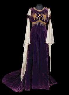 "Norma Shearer ""Juliet Capulet"" purple velvet embroidered dress with train, by Adrian from Romeo and Juliet."