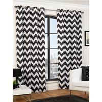 Hamilton McBride Chevron Eyelet Curtains in 3 width, 3 drop and 2 colour optionsBring your windows bang up to date with these super-stylish printed curtains.The black option gives them a little monochrome cool, while the ochre version is perfect if you're looking for a bright splash of colour in your space.Choose from drops of 137cm (54 inch), 183cm (72 inch) or 229cm (90 inch), along with a choice of 3 widths:- Single curtain width of 117 cm (46 inch) fits a pole width up to 152 cm (5…