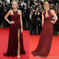 INM 285 Famous Celebrity Dress 2015 Pleated Chiffon Wine Red Split ...