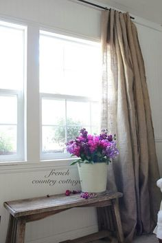 Unique burlap curtains @ the French country cottage