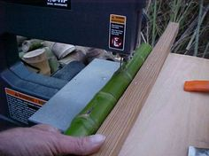 Sawing a pole lengthwise - bandsaw - Bamboo Workshop Gallery