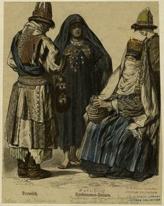 Turkmen men and women by Grevel, 1913