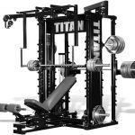 Get buffed with one machine, at home with the Titan T1 Gym.  The all-in-one home gym setup is made to fit in a 9'X12' room and offers about 50 exercises such as; Cable crossovers Cable Press La...