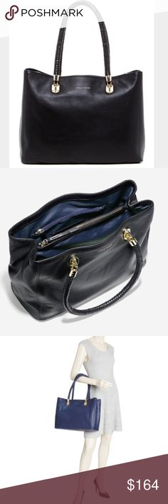 """NWT Cole Haan Benson Large Leather Tote NWT Cole Haan Benson Large Leather Tote in black pebbled leather with woven handles and gold hardware. Brand new with tags from a smoke-free, pet-free home. Approx. 13.5""""L x 10.5""""H x 6""""D. Strap Drop 8.5"""". Cole Haan Bags Totes"""