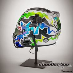 "Racing Helmets Garage: Stilo ""Swissvax"" 2014 by Liquid Colour Designs Dirt Bike Helmets, Racing Helmets, Sports Helmet, Football Helmets, Skull Helmet, Helmet Paint, Custom Airbrushing, Custom Helmets, Cars"
