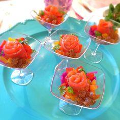 サービスでお出ししている前菜です - 82件のもぐもぐ - お料理教室♪①                              アペタイザー                                 紫キャベツとパプリカのマリネ  スモークサーモンのせ by 1125shino