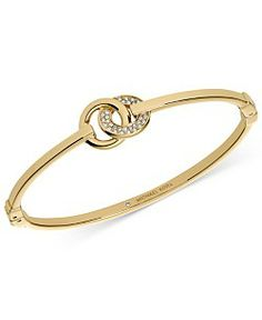 Michael Kors Gold-Tone Crystal Pavè Interlock Ring Bangle Bracelet