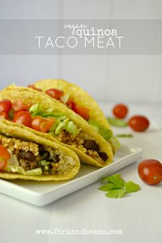 "Vegan Quinoa Taco ""Meat"".  Love, love, love this!  Perfect if you may be just trying vegan or just want a healthier option.  Easy, flavorful & can be used in all kinds of recipes."