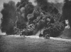 Destroyers generating a smoke screen at sea. On two occasions during the Battle of Jutland on 31st May 1916 German destroyers set up a smoke screen to conceal from the British that the German battle line was turning away to try and escape from the British battleships' shellfire.