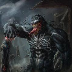 Venom!! Art by JDgreed   #Venom #Symbiote #Marvel #MarvelComics #Comics #ConceptArt #Art #Artist #Villain