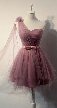 Charming One Sholder Short Tulle Homecoming Dresses,Short Sage