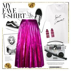 """Dress Up a T-Shirt"" by bklana ❤ liked on Polyvore featuring Yves Saint Laurent, Vans, Pat McGrath, Madonna, Stila, Gucci, Dolce&Gabbana, Lele Sadoughi, Clarins and bklana"
