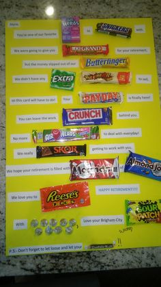 Retirement candy card | Candy Bar sayings and Candy gifts ...