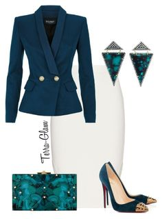 """Business As Usual"" by terra-glam ❤ liked on Polyvore featuring Jonathan Simkhai, Rafe, Christian Louboutin, Balmain and Jemma Wynne"