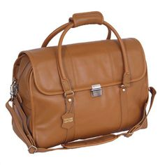 Sondrio Leather Travel Satchel-Front compartment has multiple storage pockets for business accessories and travel documents; the back compartment is sized to hold legal sized documents or newspapers and magazines. #MakeItMine