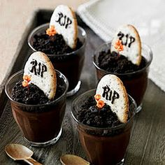 Great collection of Creepy Halloween food. Crumble oreo, mix with dark chocolate pudding, cut little biscuit cookies or crackers for tombstone